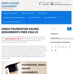 IGNOU FOUNDATION SOLVED ASSIGNMENTS FREE