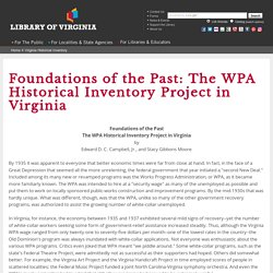 Foundations of the Past: The WPA Historical Inventory Project in Virginia