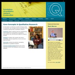 Core Concepts § Q: Foundations of Qualitative Research in Education