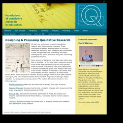 Designing: Foundations of Qualitative Research