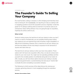 The Founder's Guide To Selling Your Company