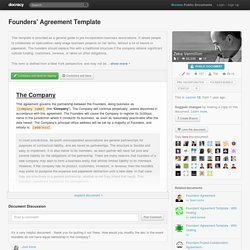 Founders' Agreement Template