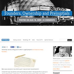 Founders, Ownership and Prenuptials