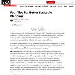 Four Tips for Better Strategic Planning