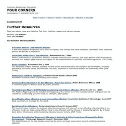 Four Corners - 02/11/2009: Further Resources