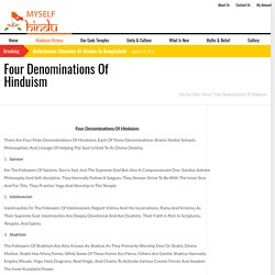 Four Denominations Of Hinduism