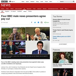 Four BBC male news presenters agree pay cut