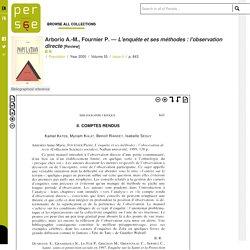 L'enquête et ses méthodes : l'observation directe, Arborio A.-M., Fournier P.