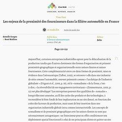 Les enjeux de la proximité des fournisseurs dans la filière automobile en France