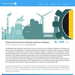 Origine des fournisseurs d'énergies présents en Belgique