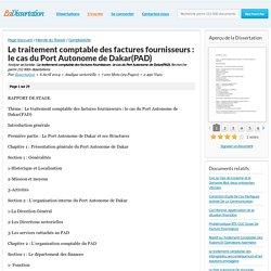 Le traitement comptable des factures fournisseurs : le cas du Port Autonome de Dakar(PAD) - Analyse sectorielle - dissertation