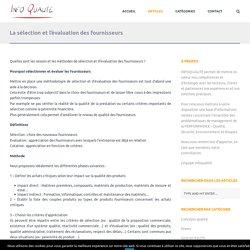 La sélection et l'évaluation des fournisseurs - Infoqualité