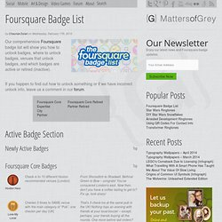 Foursquare Badge List | Matters of Grey