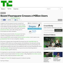 Foursquare Crosses 2 Million Users