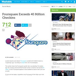 Foursquare Exceeds 40 Million Checkins