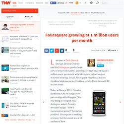 Foursquare growing at 1 million users per month - TNW Apps