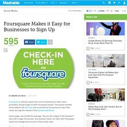 Foursquare Makes it Easy for Businesses to Sign Up