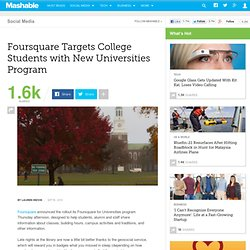 Foursquare Targets College Students with New Universities Program