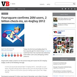 Foursquare confirms 20M users, 2 billion check-ins, on 4sqDay 2012