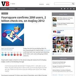 Foursquare confirms 20M users, 2 billion check-ins, on 4sqDay 2012
