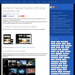 Le thème Twenty Fourteen (2014) de Wordpress 3.8
