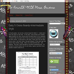 Daily 5 Choice Boards-Intermediate Style
