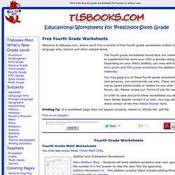 Print Free Fourth Grade Worksheets for Home or School.
