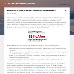 Methode om foutcode 10054 in McAfee Antivirus direct te herstellen