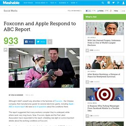 Foxconn and Apple Respond to ABC Report