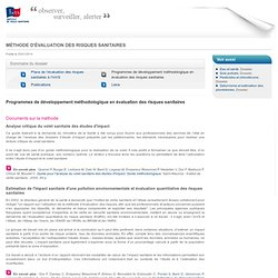 INVS 22/01/14 Programmes de développement méthodologique en évaluation des risques sanitaires