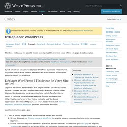 fr:Deplacer WordPress