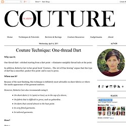 Frabjous Couture: Couture Technique: One-thread Dart