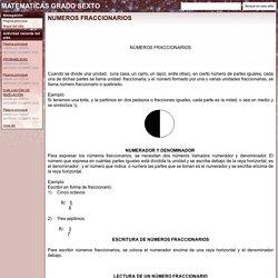 NUMEROS FRACCIONARIOS - MATEMATICAS GRADO SEXTO
