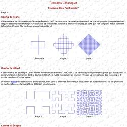 Fractales de Peano, d'Hilbert, courbes du dragon et de Sierpinski.