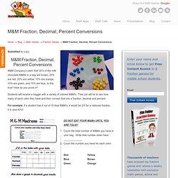 M&M Fraction, Decimal, Percent Conversions