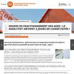 Heures de fractionnement des AESH : le Sgen-CFDT obtient 2 jours de congé payés ! - Fédération Sgen-CFDT AESH HEURES FRACTIONNEMENT