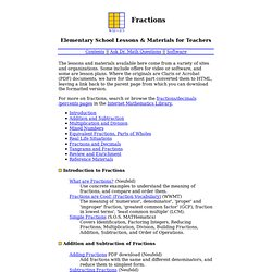 Math Forum : Fractions : Elementary Lessons & Materials