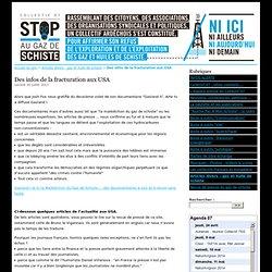 Des infos de la fracturation aux USA - GAZ DE SCHISTE - Collectif 07 Stop au Gaz de Schiste
