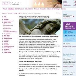EKD: Fragen zur Trauerfeier und Bestattung