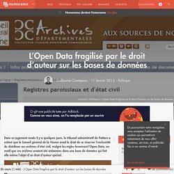 L'Open Data fragilisé par le droit d'auteur sur les bases de données