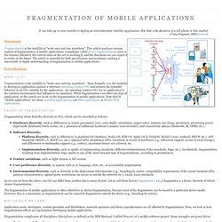 Device Fragmentation of Mobile Applications