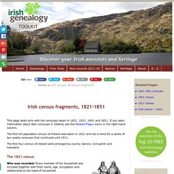 Only a few Irish census fragments survive from the 1821-1851 returns