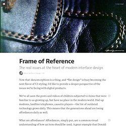 Frame of Reference — Design/UX