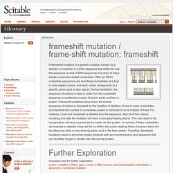 frameshift mutation / frame-shift mutation; frameshift