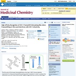 High-Affinity Recognition of HIV-1 Frameshift-Stimulating RNA Alters Frameshifting in Vitro and Interferes with HIV-1 Infectivity - Journal of Medicinal Chemistry