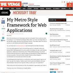 My Metro Style Framework for Web Applications