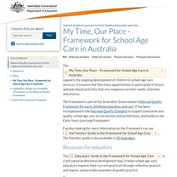 'My Time, Our Place' - Framework for school age care in Australia