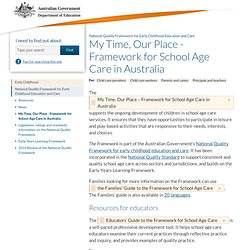 My Time, Our Place - Framework for School Age Care in Australia