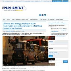Climate and energy package: 2030 framework a 'step backwards' on tackling transport emissions
