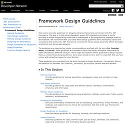 Design Guidelines for Developing Class Libraries